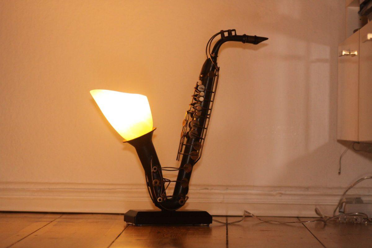 Lampe Saxophon Design Vintage Einzelstück Handarbeit