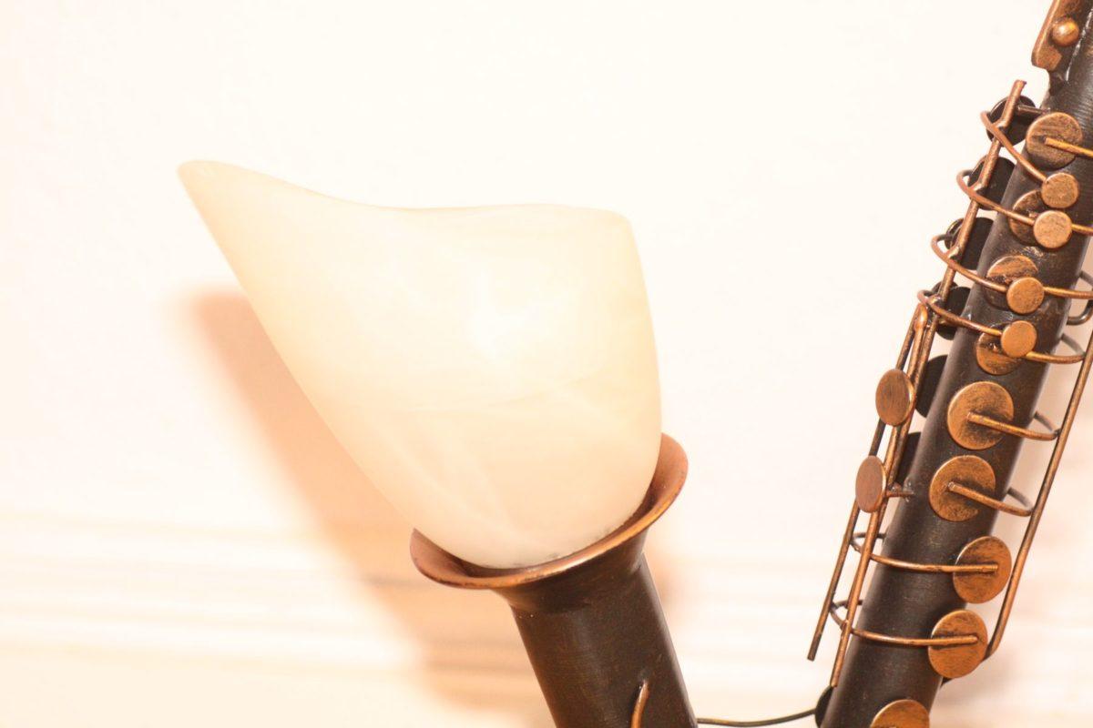 Einzelstück Lampe Saxophon Schirm Glas