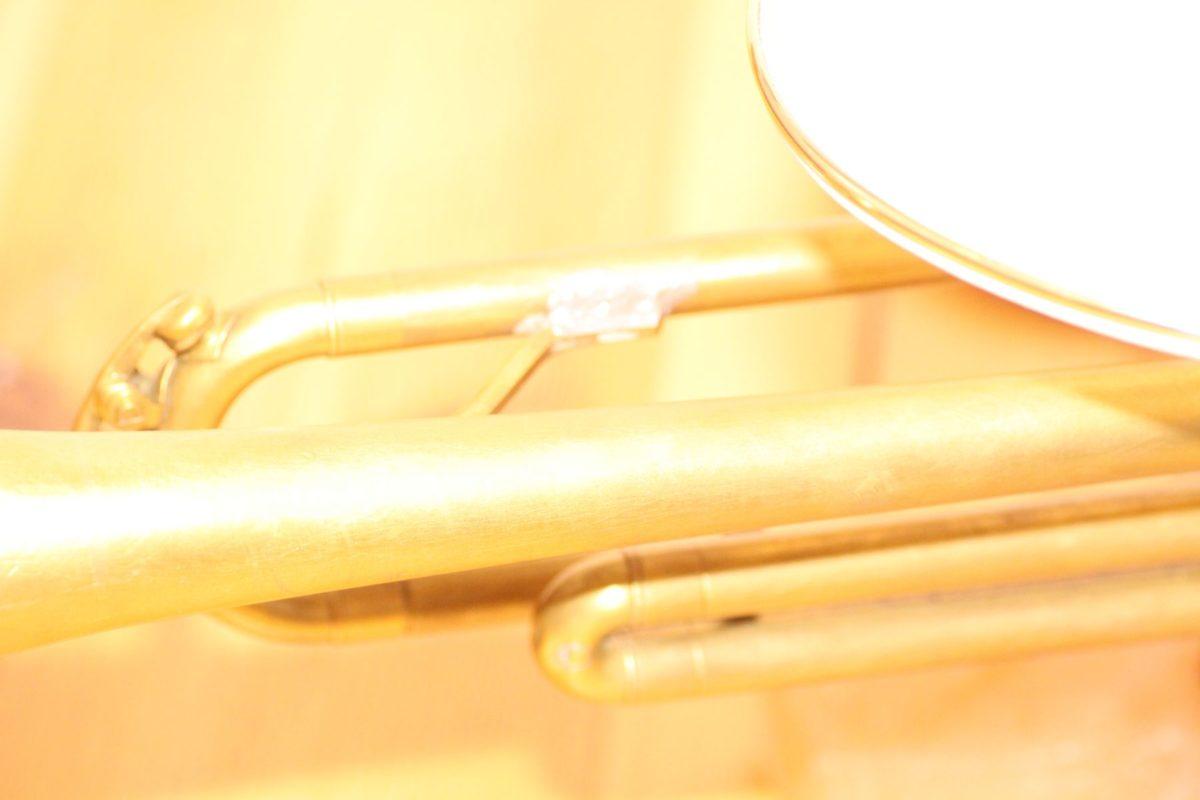 Handgefertigte Trompetenlampe Design Vintage Salzblock