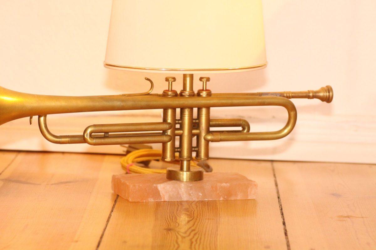 Handgefertigte Trompetenlampe Design Vintage Salzblock Trompete Lampenschrirm