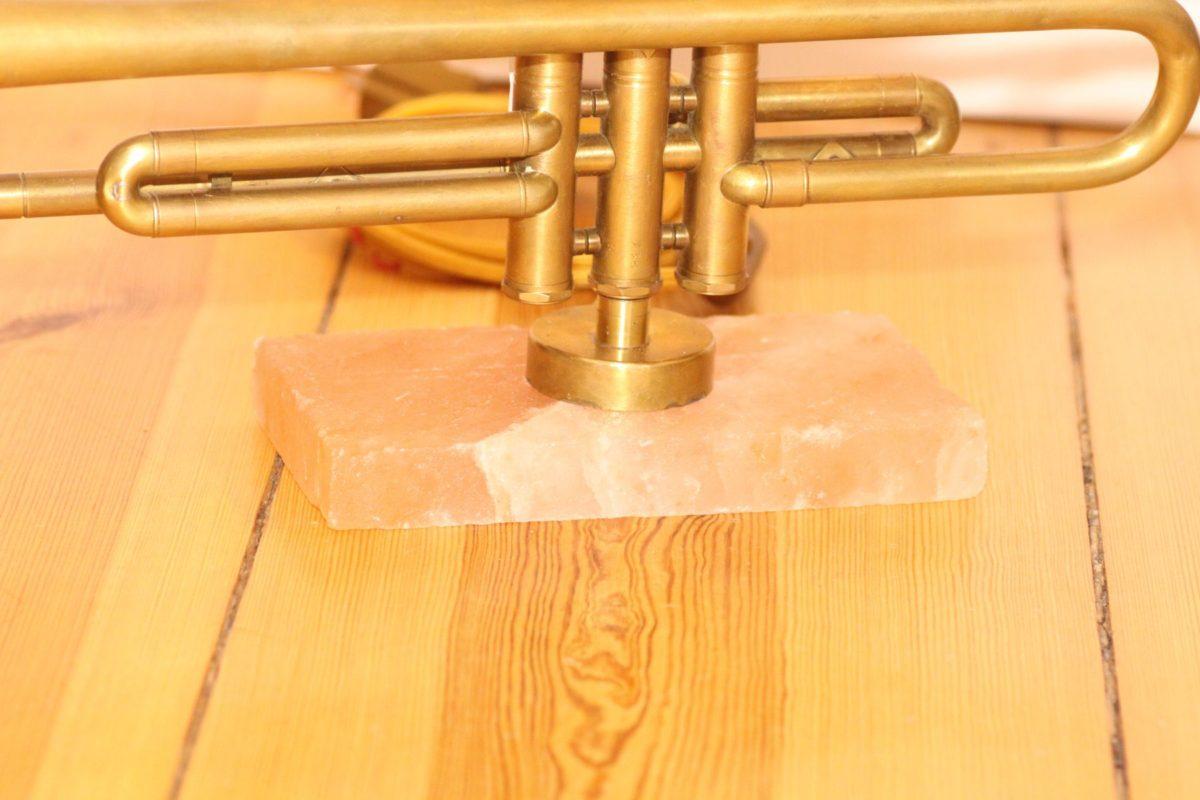 Handgefertigte Trompetenlampe Vintage Retro Einzelstück Trompete Salzblock