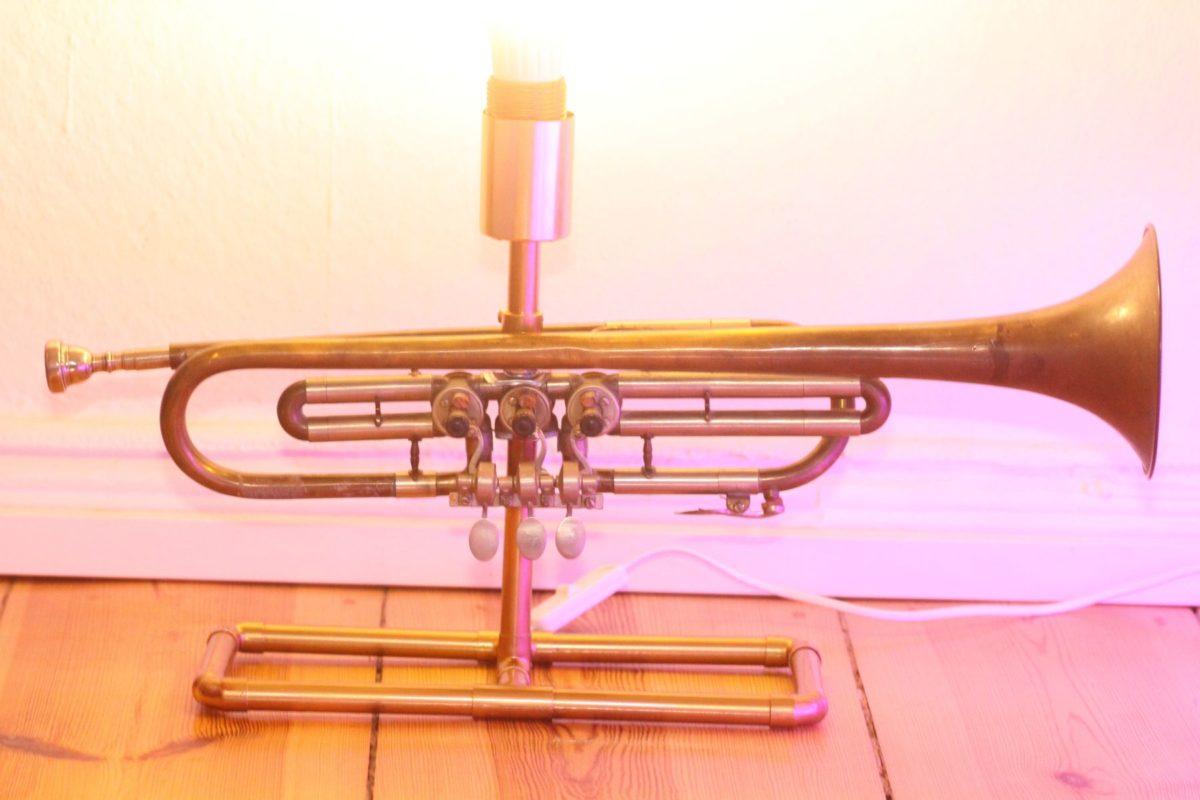 Trompetenlampe Tischleuchte Messing Kupfer Vintage Berlin 23_06 Lampe