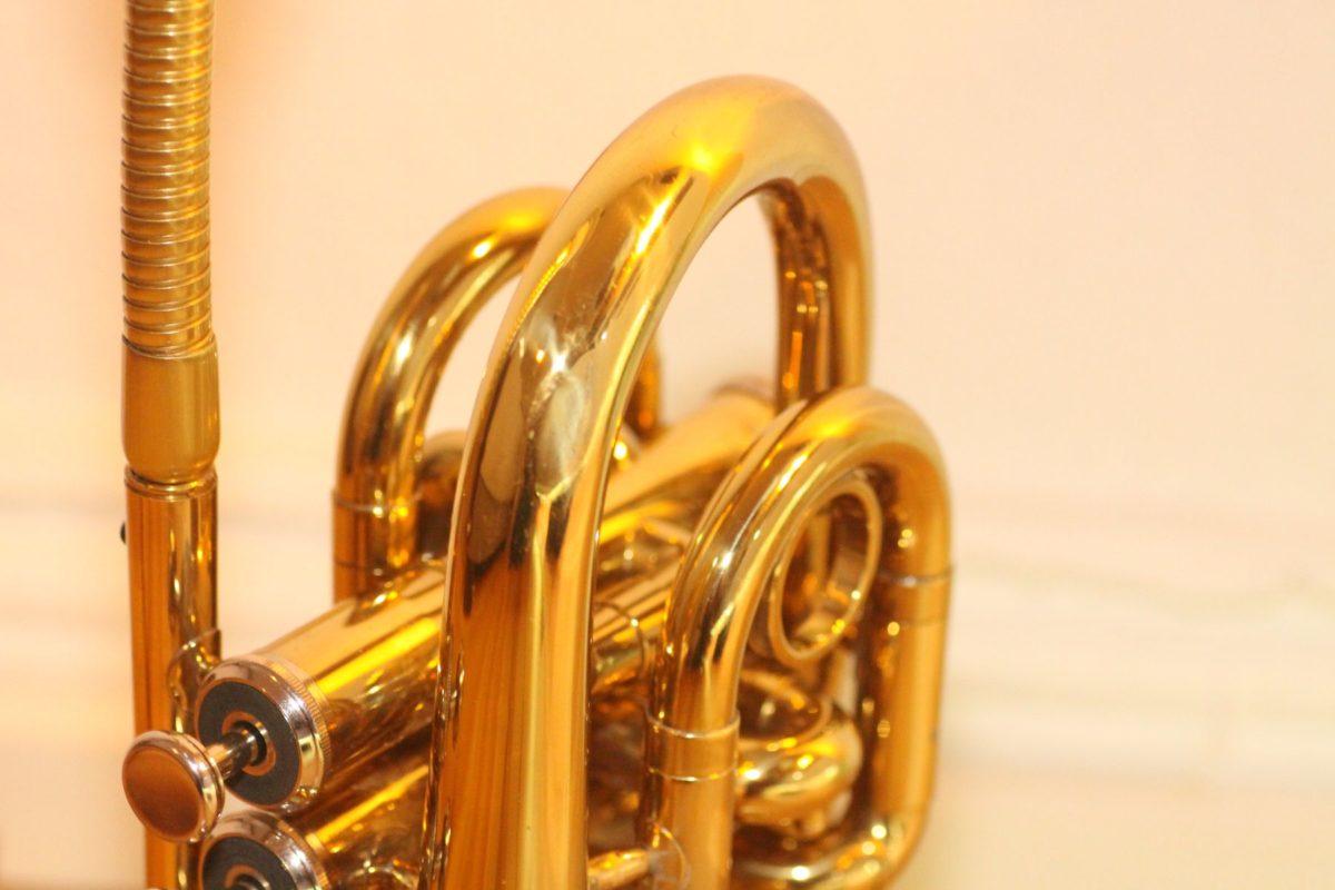Trumpet lamp pocket gold table lamp handmade #29