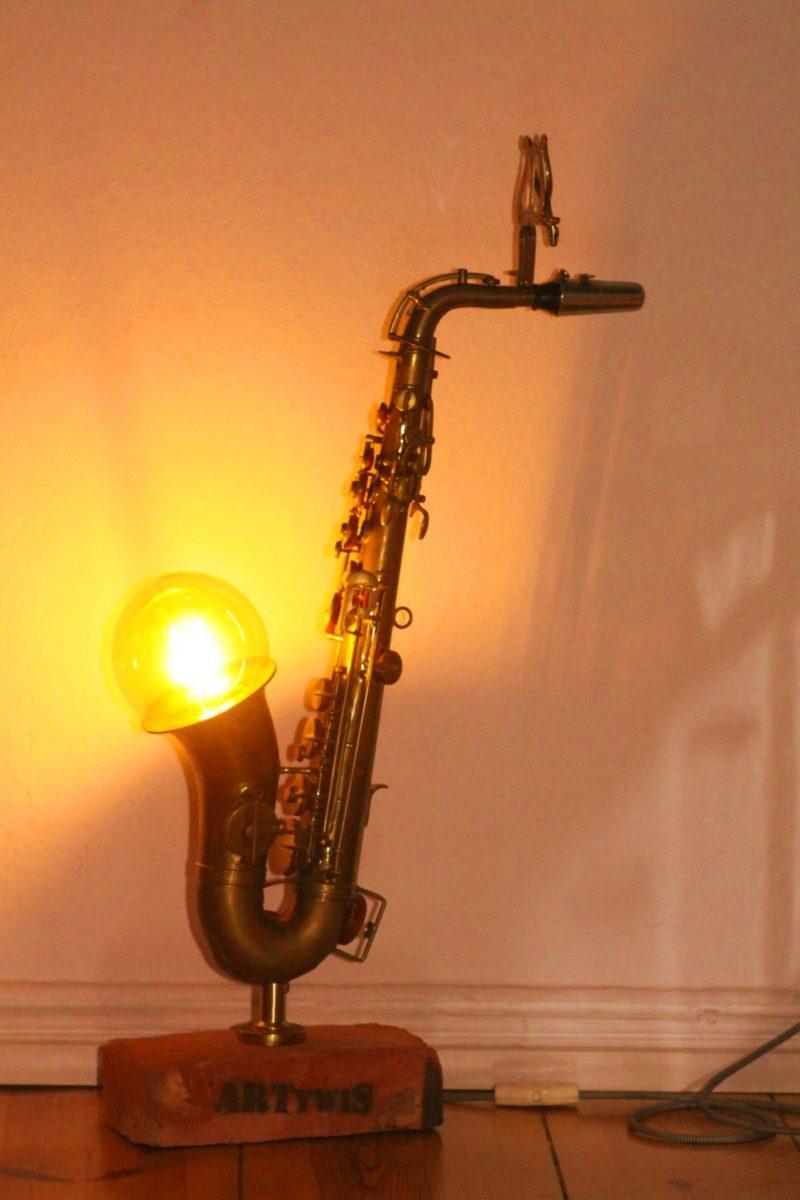 Saxophone lamp brick design unique handwork Berlin 24 03