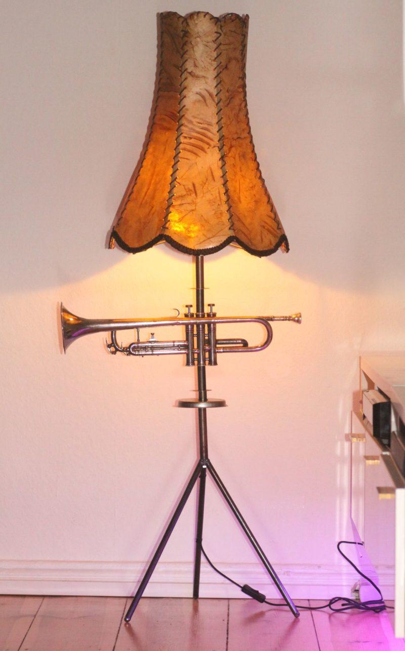 Trumpet lamp floor lamp steel tubes silver beige 140cm Retro Vintage