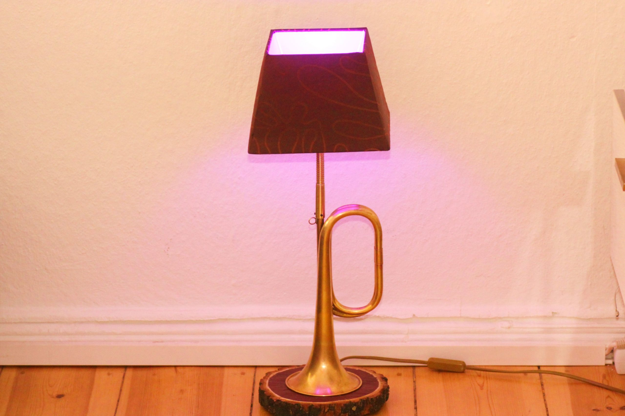 Trumpet Lamp Horn Lamp Wooden Slice Brown Gold Handwork LED RGB Remote Control 34A