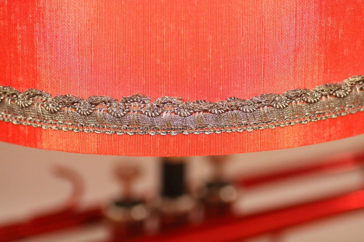 Trumpet lamp black red brick table lamp handmade sustainable 33A