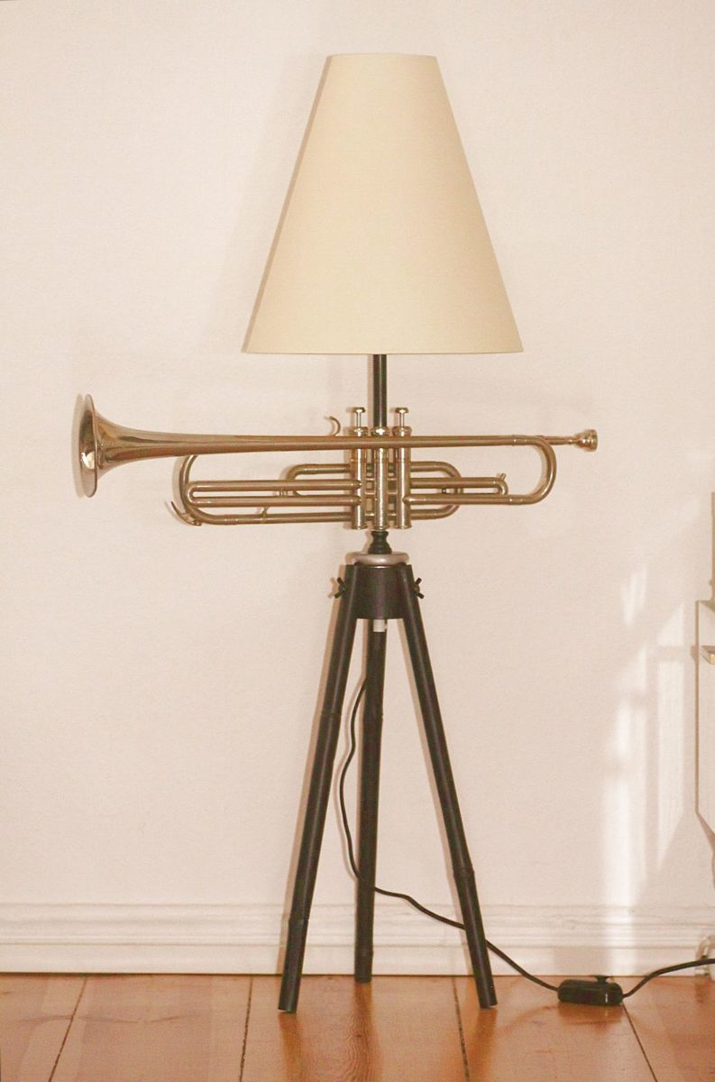 Trumpet lamp floor lamp black silver beige switched on