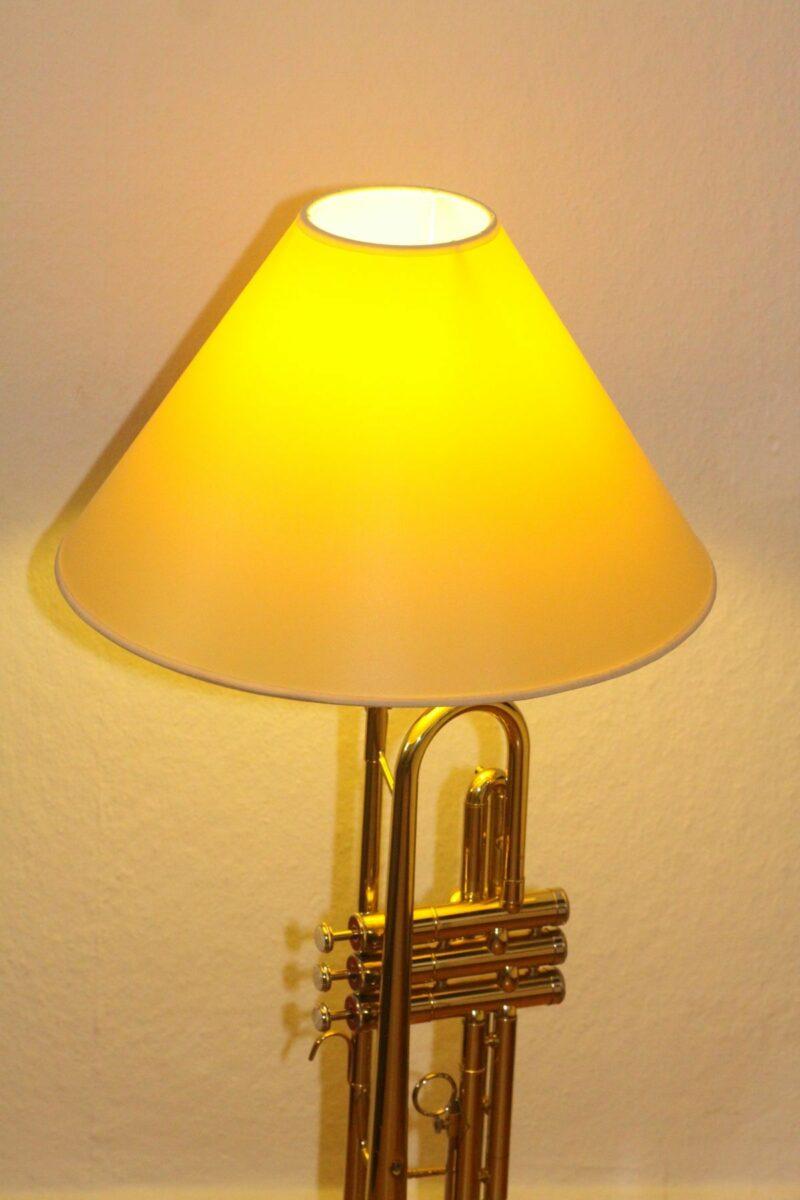 Trumpet lamp floor lamp gold beige brown vintage handmade 37_02
