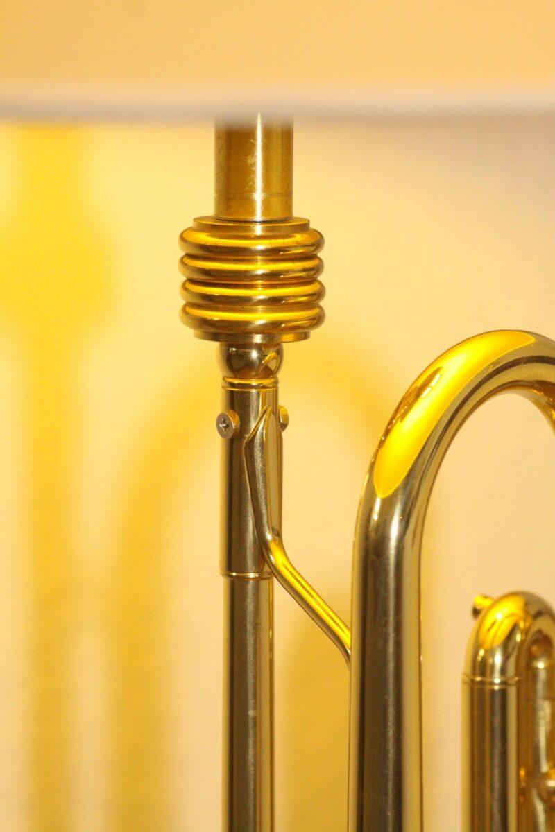 Trumpet lamp floor lamp gold beige brown vintage handmade 37_04