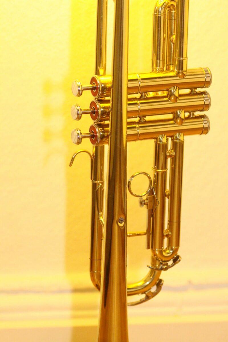 Trumpet lamp floor lamp gold beige brown vintage handmade 37_05