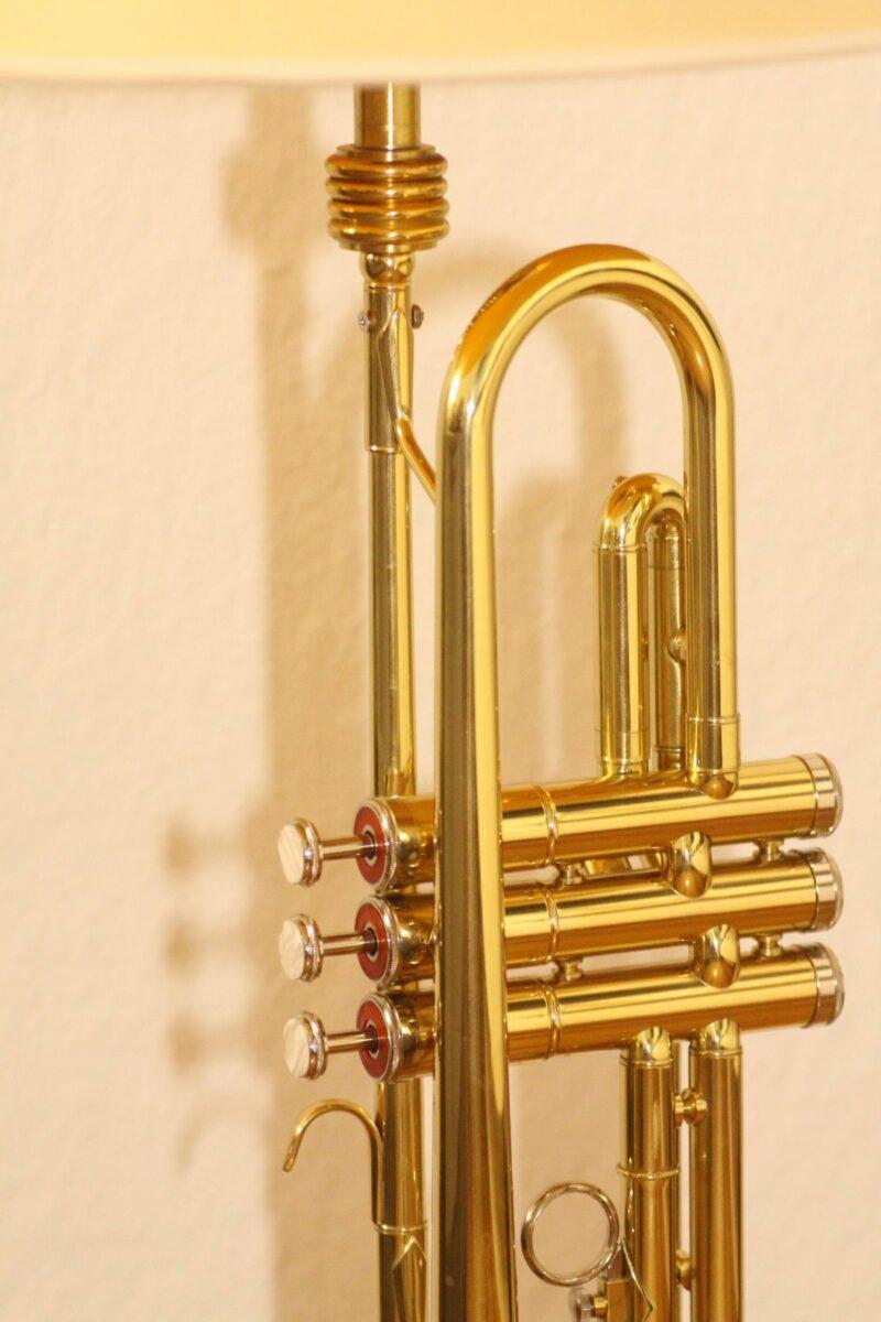 Trumpet lamp floor lamp gold beige brown vintage handmade 37_06