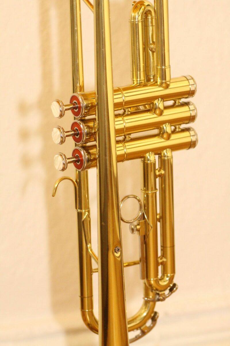 Trumpet lamp floor lamp gold beige brown vintage handmade 37_07