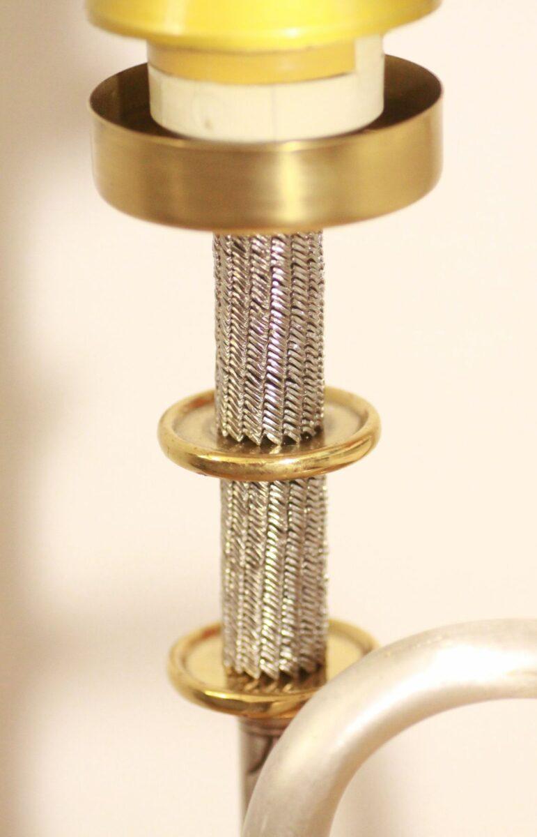 Trumpet lamp floor lamp gold-silver beige vintage handcraft 40A