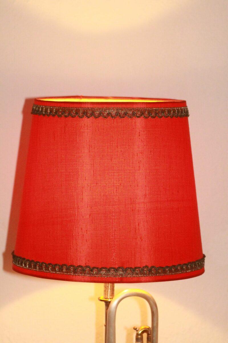 Trumpet lamp floor lamp gold-silver red vintage handmade 40B