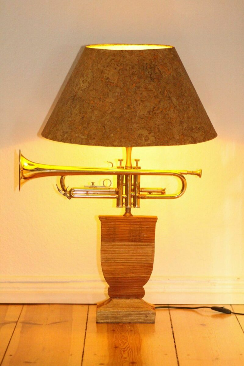 Trumpet lamp floor lamp wood lampshade cork sustainable