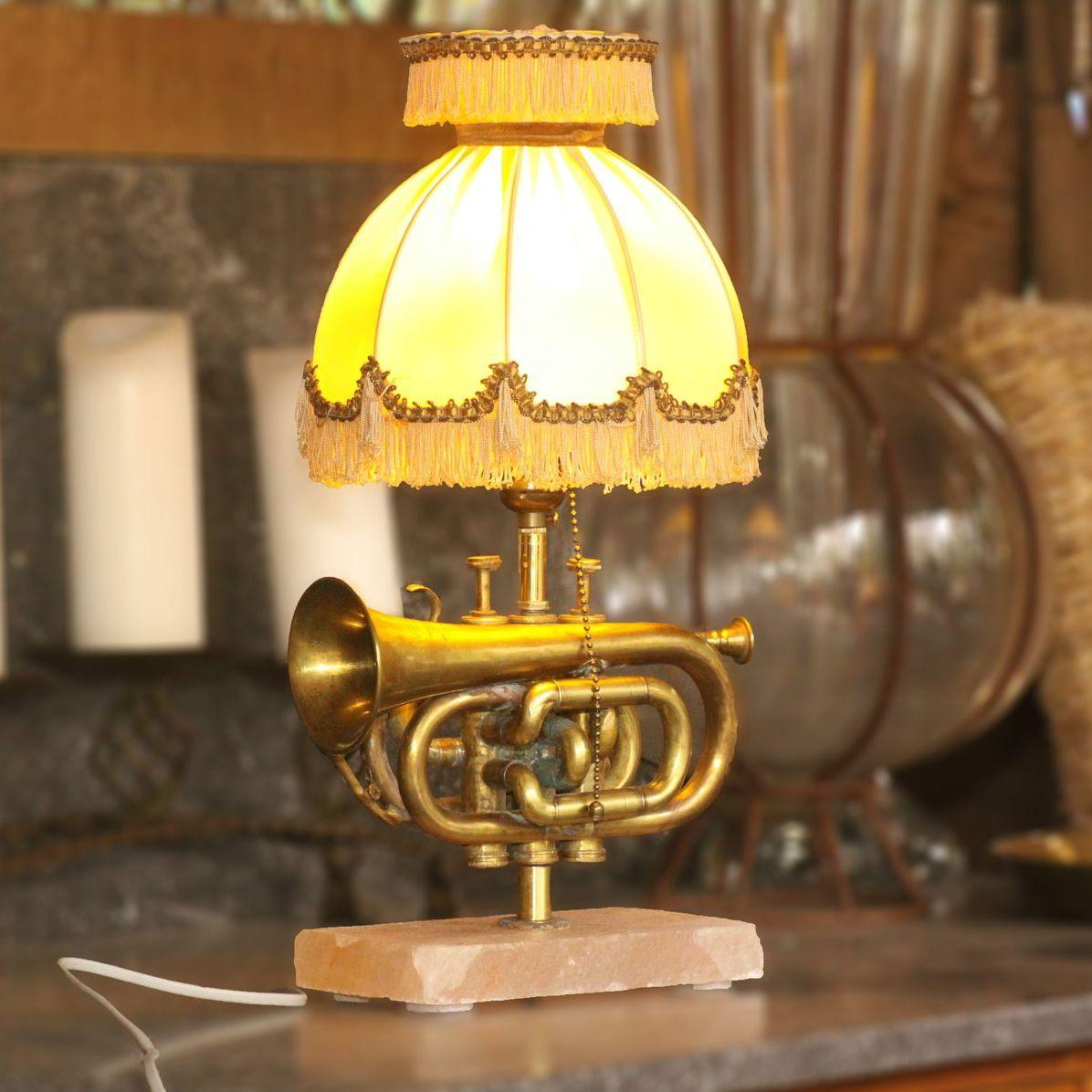 Trumpet lamp table lamp salt block fringes vintage retro 32